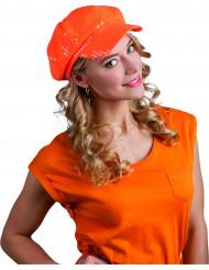 Orange kasket med pailletter til voksne