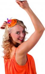 Orange minihat med trefarvede fjer voksen