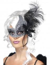 Sort engel venetiansk maske med store sorte fjer voksen