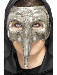 Sølvfarvet lang næse venetiansk halvmaske voksne