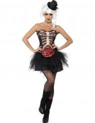 Skelet med åben bug - kostume til voksne Halloween