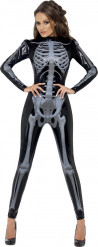 Sort sexet skelet-kostume Halloween kvinde