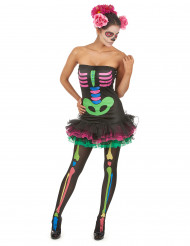 Kostume farvet skelet til kvinder Halloween