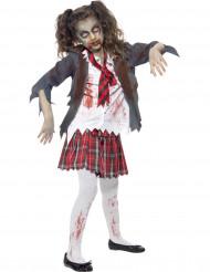 Halloween zombie-skolepige kostume til piger