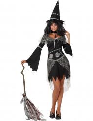 Grå og sort hekseudklædning voksen Halloween