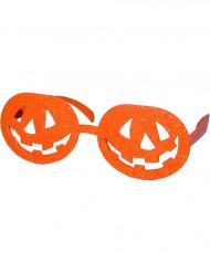 Orangefarvede græskarbriller voksen Halloween