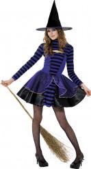 Kostume lilla og sort heks Halloween