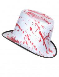 Hvid hat med blodstænk voksen Halloween