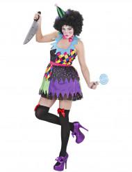 Kostume skræmmende klovn multifarvet til kvinder