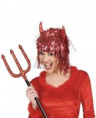 Rødglitrende djævleparyk voksen Halloween