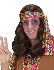 Bølget brun hippieparyk til mænd