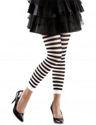 Sort- og hvidstribede leggings voksen