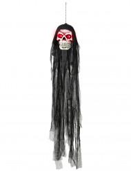Dekoration hængende kranie med lysende øjne Halloween