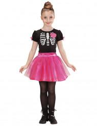 Kostume lyserødt skelet til piger Halloween