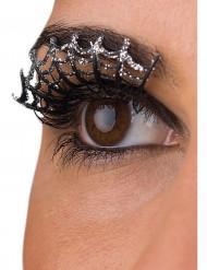 Kunstige øjenvipper med sølvfarvet spindelvæv voksen