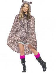Poncho leopard voksen