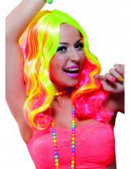 Neongul og lyserød paryk voksen