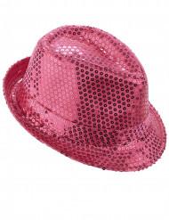 Lyserød hat med pailletter voksen