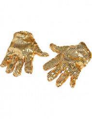 Handsker med guldfarvede pailletter voksen