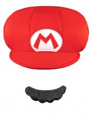 Mario™ kasket og moustache barn