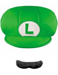 Luigi™ kasket og moustache barn