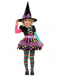 Farverigt heksekostume halloween pige