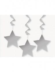 3 dekorationer til hængning stjerner grå