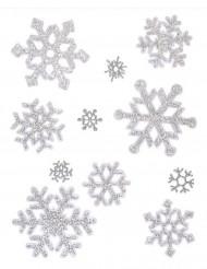 Klistermærker snefnug i sølv glimmer