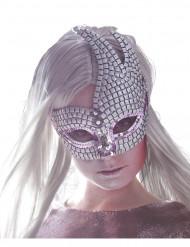 Venetiansk glitrende øjenmaske i sølv voksen