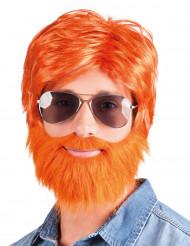 Rødmosset paryk med skæg og overskæg voksen
