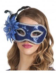 Blå venetiansk øjenmaske med blomst voksen