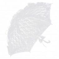 Parasol med hvide blonder 85 cm.