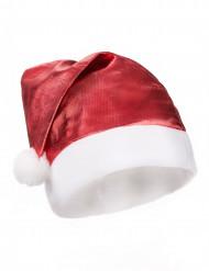 Rød, metalagtig nissehue voksen Jul