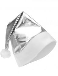 Sølvfarvet metalagtig nissehue voksen Jul