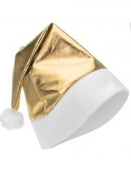 Guldfarvet metalagtig nissehue voksen Jul