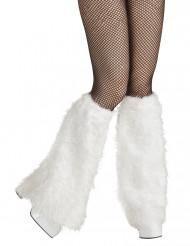 Hvide benvarmere i imiteret pels