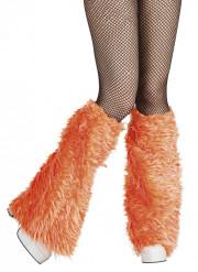Orange benvarmere i imiteret pels