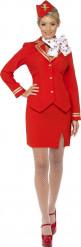 Rød stewardesse dragt