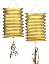 2 metalliske lampetter guld