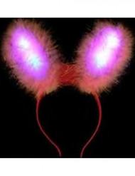Lyserøde kaninører med LED-lamper