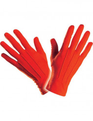Korte røde handsker voksenstørrelse