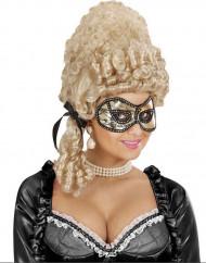 Guld maske med sort pelse voksenstørrelse