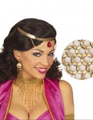 Halskæde tætsiddende med forgyldte perler til kvinder