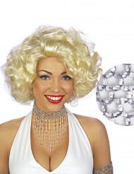 Choker med sølvperler kvindestørrelse