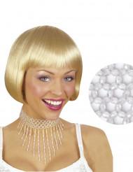Choker med hvide perler kvindestørrelse