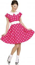 Udklædningsdragt lyserød kjole med hvide prikker 50