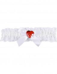 Strømpebånd sexet hvid blonde med rødt hjerte kvinde