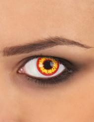 Kontaktlinser fantasy gule og røde voksen