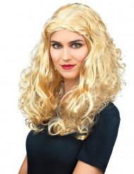 Paryk med små krøller blond kvinde