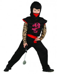 Kostume ninja rød og sort til drenge